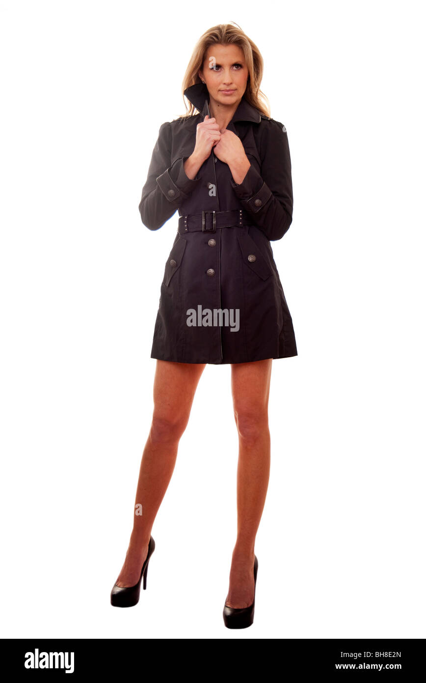 on wholesale stable quality affordable price blonde woman wearing trench coat and high heels Stock Photo ...