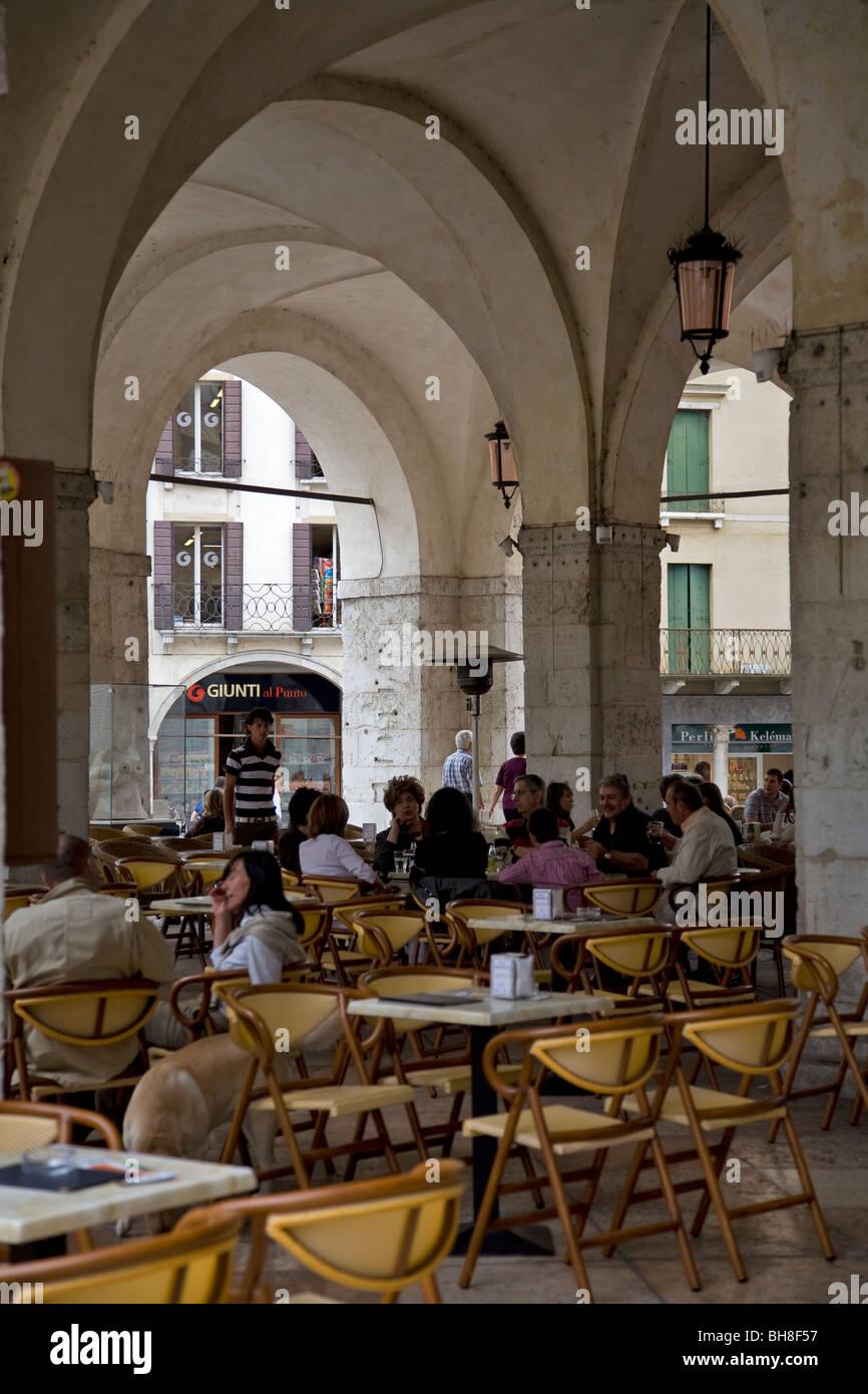 Arcaded café at Treviso - Stock Image