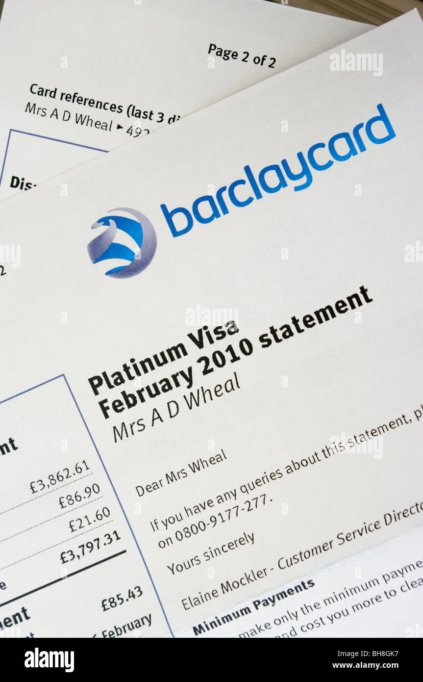 Barclaycard Credit Card Monthly Statement Stock Photo: 27848219 - Alamy