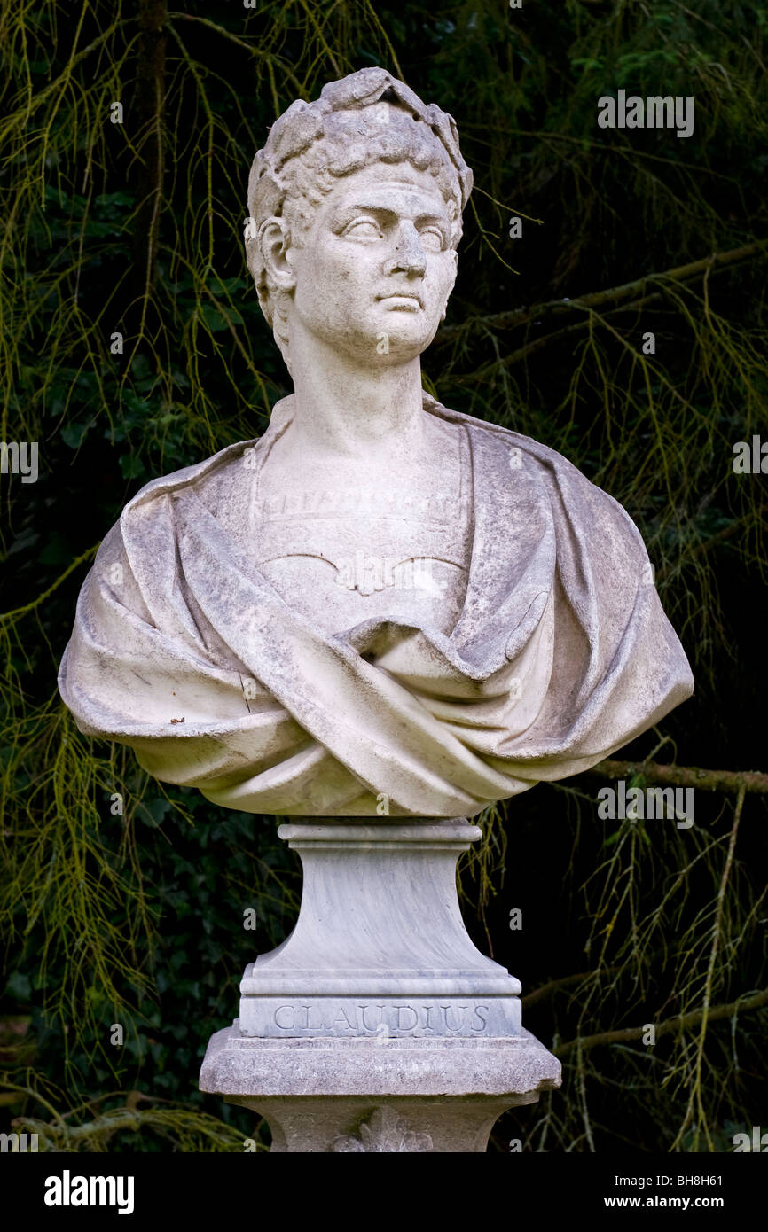 Bust of the Roman Emperor Claudius who ruled the Roman Emperor from AD41 until his death in AD54 - Stock Image