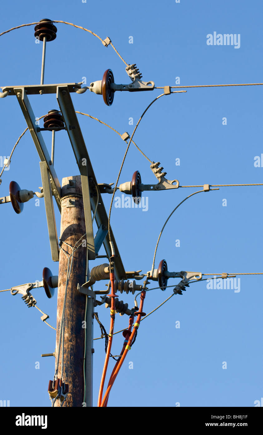 High voltage (11kV) ceramic insulators used to support, insulate a single overhead aluminum conductor with connection - Stock Image