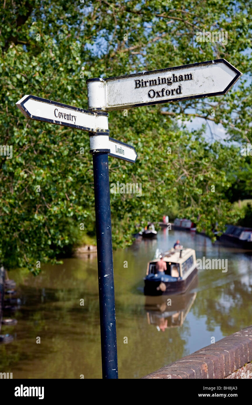 England Northamptonshire Braunston Junction between Grand Union and Oxford Canals Signpost (detail) - Stock Image