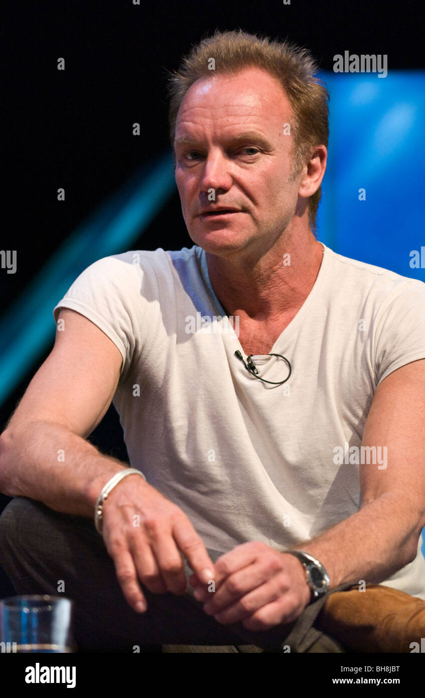 Rock star Sting pictured at Hay Festival 2009 Hay on Wye Powys Wales UK - Stock Image