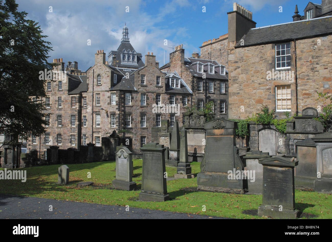 Greyfriars Kirkyard in Edinburgh's Old Town. Stock Photo