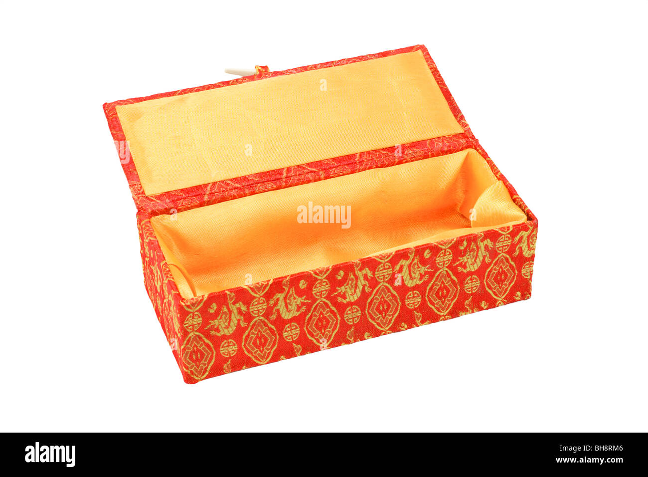 Empty red Chinese new year gift box with floral design on white background - Stock Image