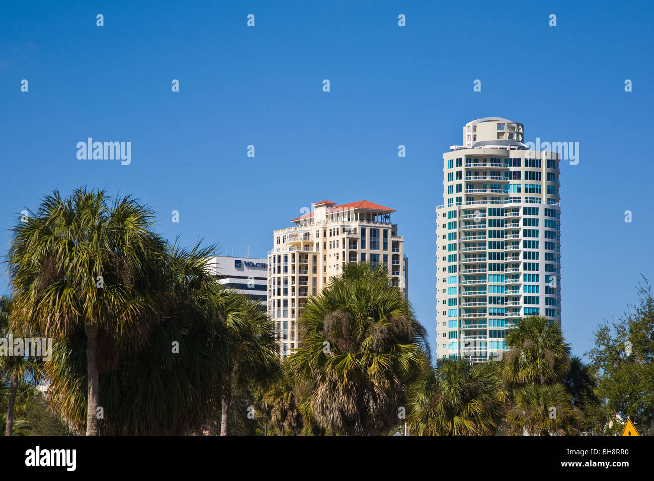 Tall buildings in downtown St Petersburg Florida - Stock Image