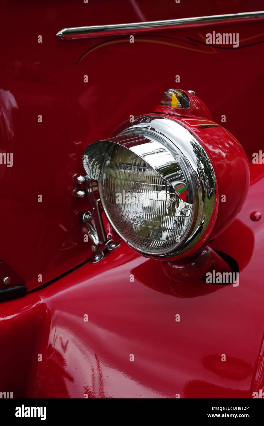 Restored 1953 Mac Semi Truck headlight and fender detail, USA - Stock Image
