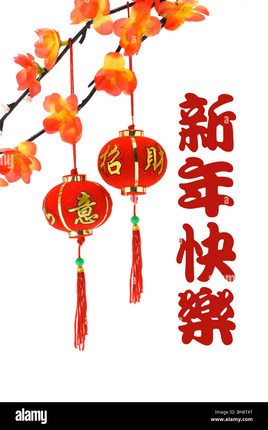 Chinese new year greetings and lanterns with plum blossom on white ...