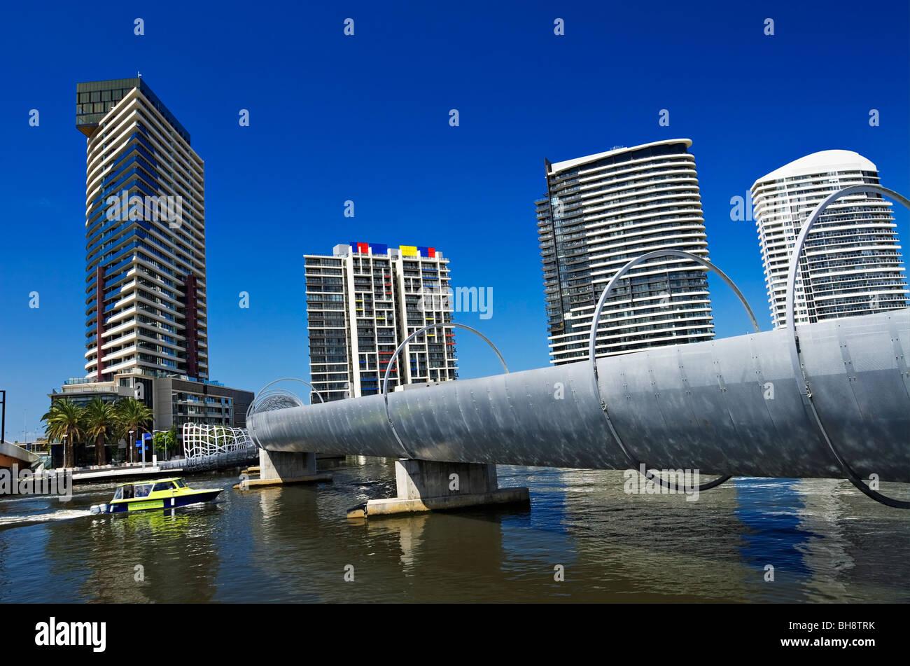Melbourne Bridges / The Webb Bridge in Melbourne Docklands / Melbourne Victoria Australia. - Stock Image