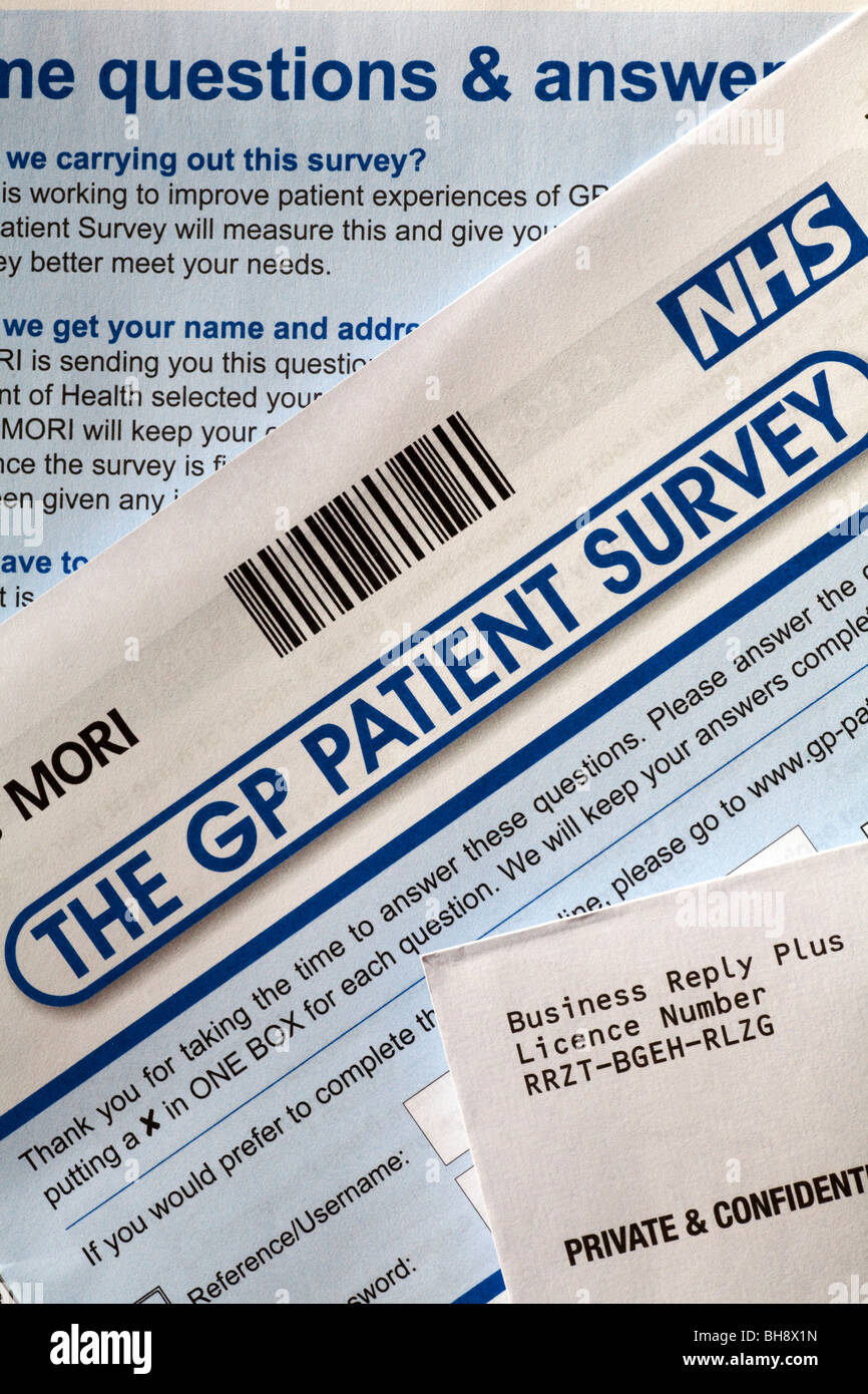 The GP patient survey sent through the post for completion - Stock Image