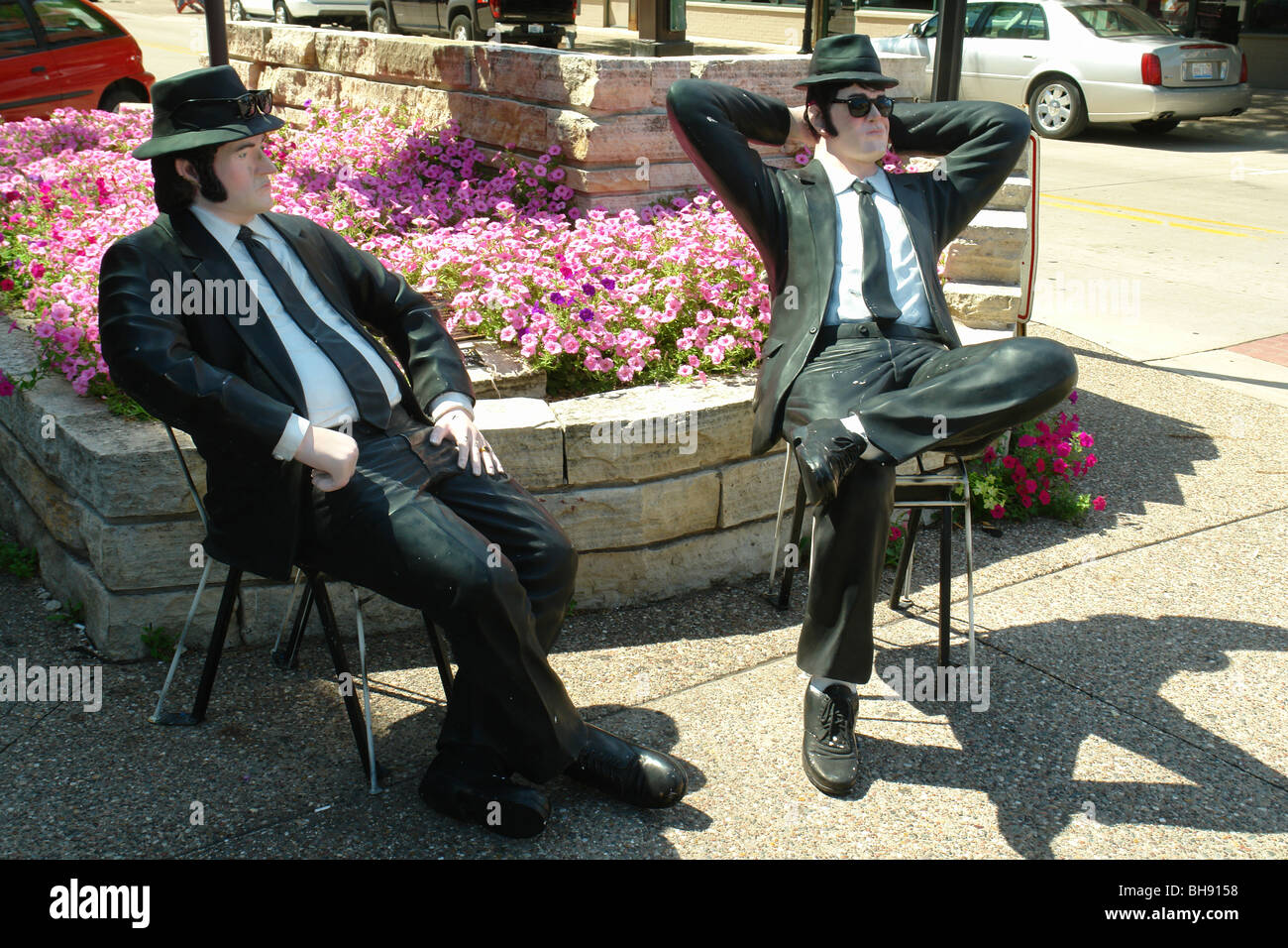 AJD65034, Rock Island, IL, Illinois, The Blues Brothers Statues, Downtown - Stock Image
