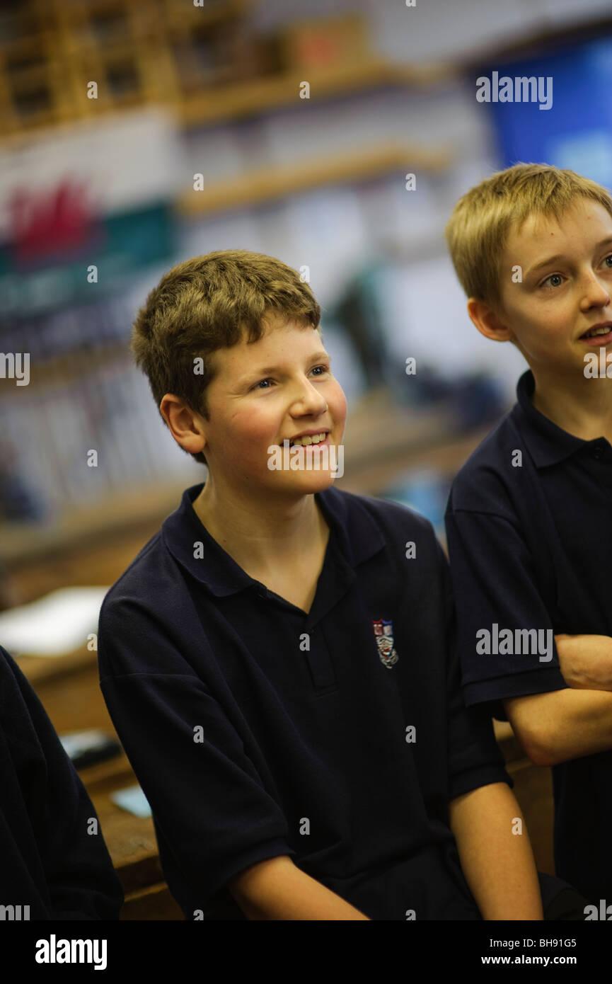 Teenage schoolboys in class, secondary school, UK - Stock Image