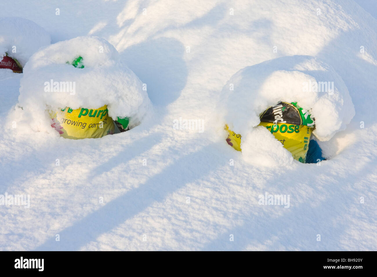 Compost sacks partially buried by snow - Stock Image