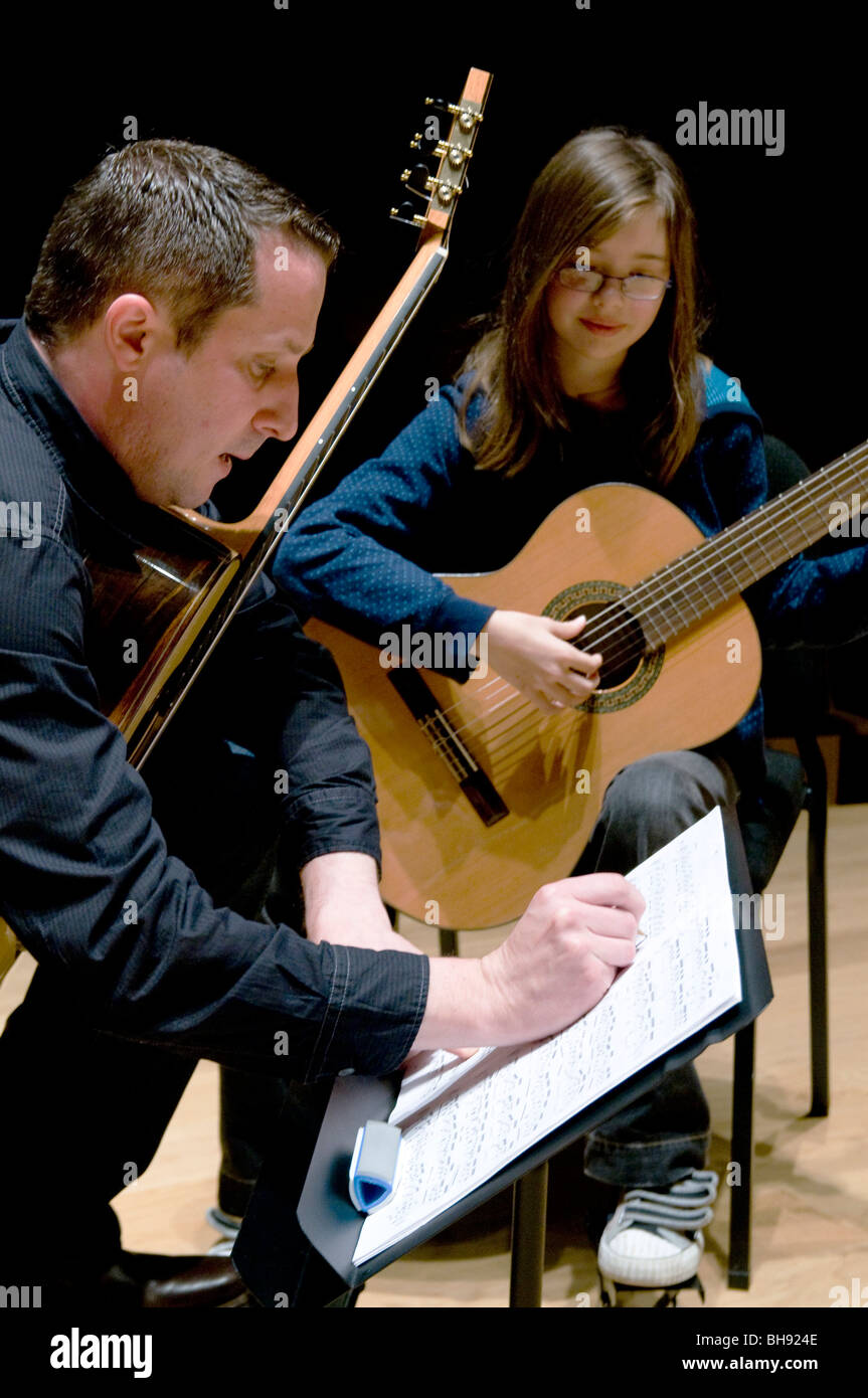 UK.Guitar tuition workshops at Kings Place, London - Stock Image