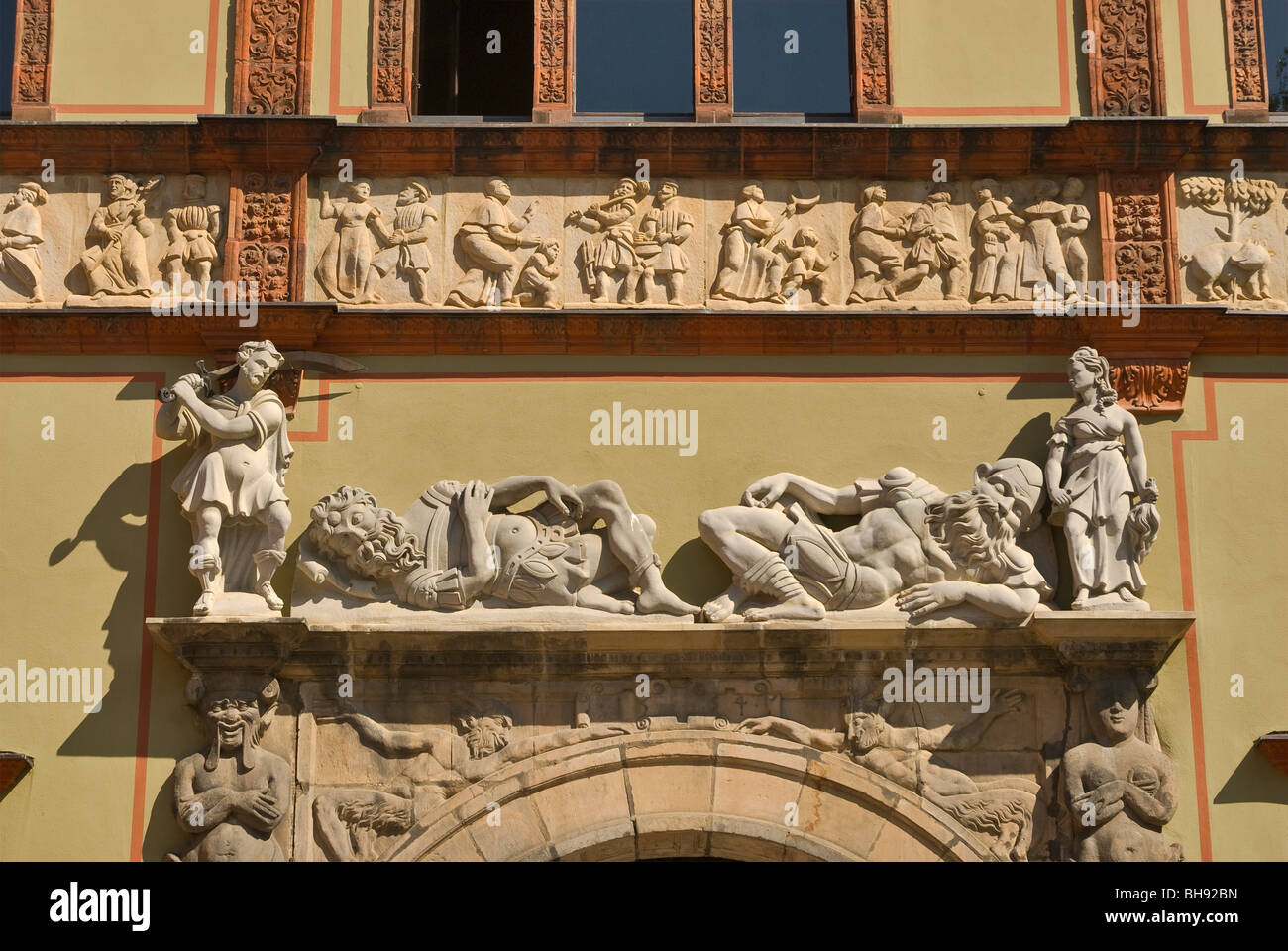 High reliefs over entrance to Fürstenhof castle in Wismar in Mecklenburg-West Pomerania, Germany Stock Photo