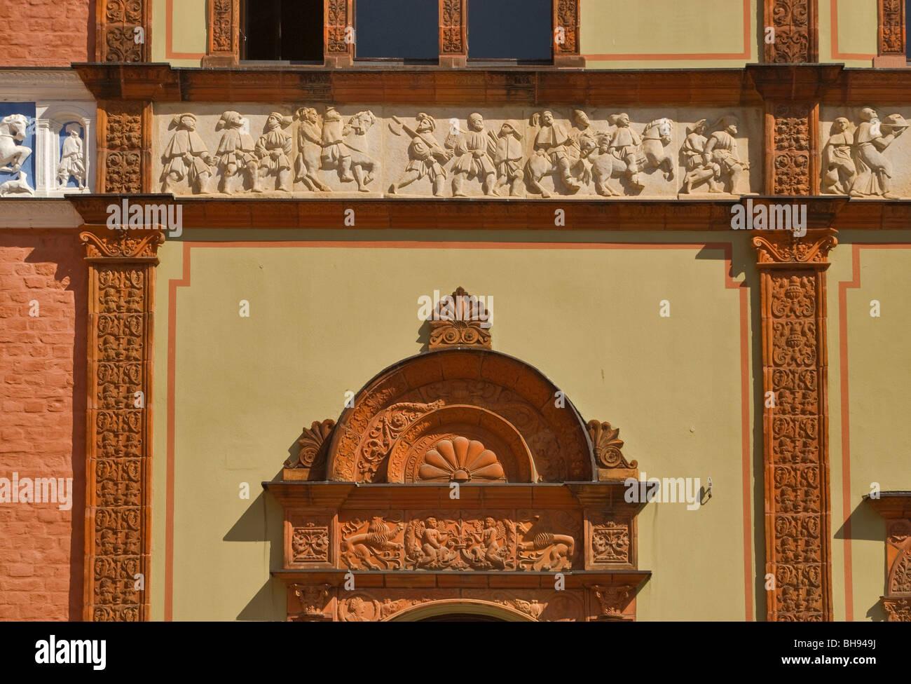 Low reliefs at Fürstenhof castle in Wismar in Mecklenburg-West Pomerania, Germany - Stock Image