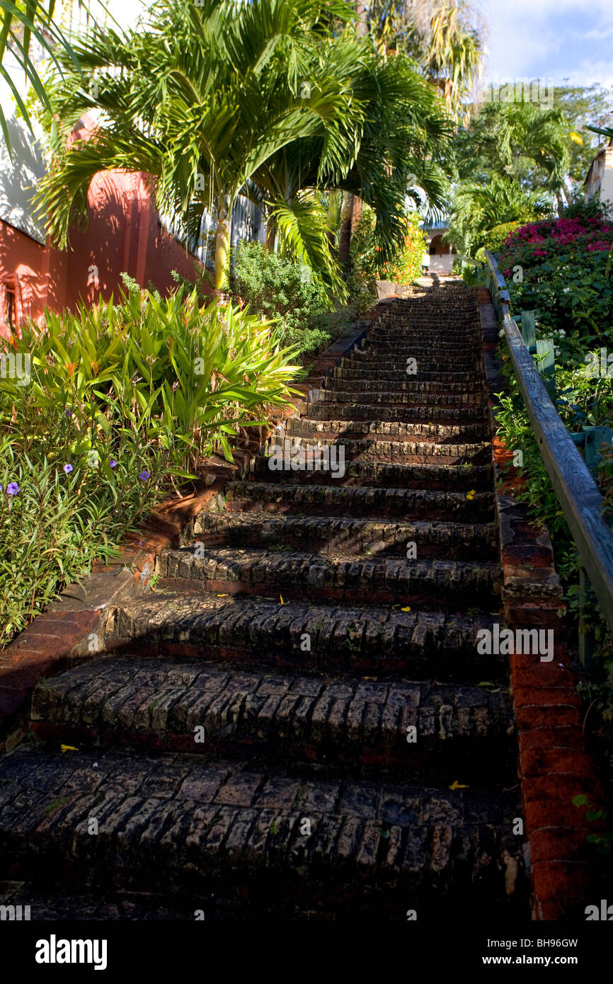 The bottom of the famous 99 steps just above the downtown area of Charlotte Amalie, St. Thomas, USVI. - Stock Image