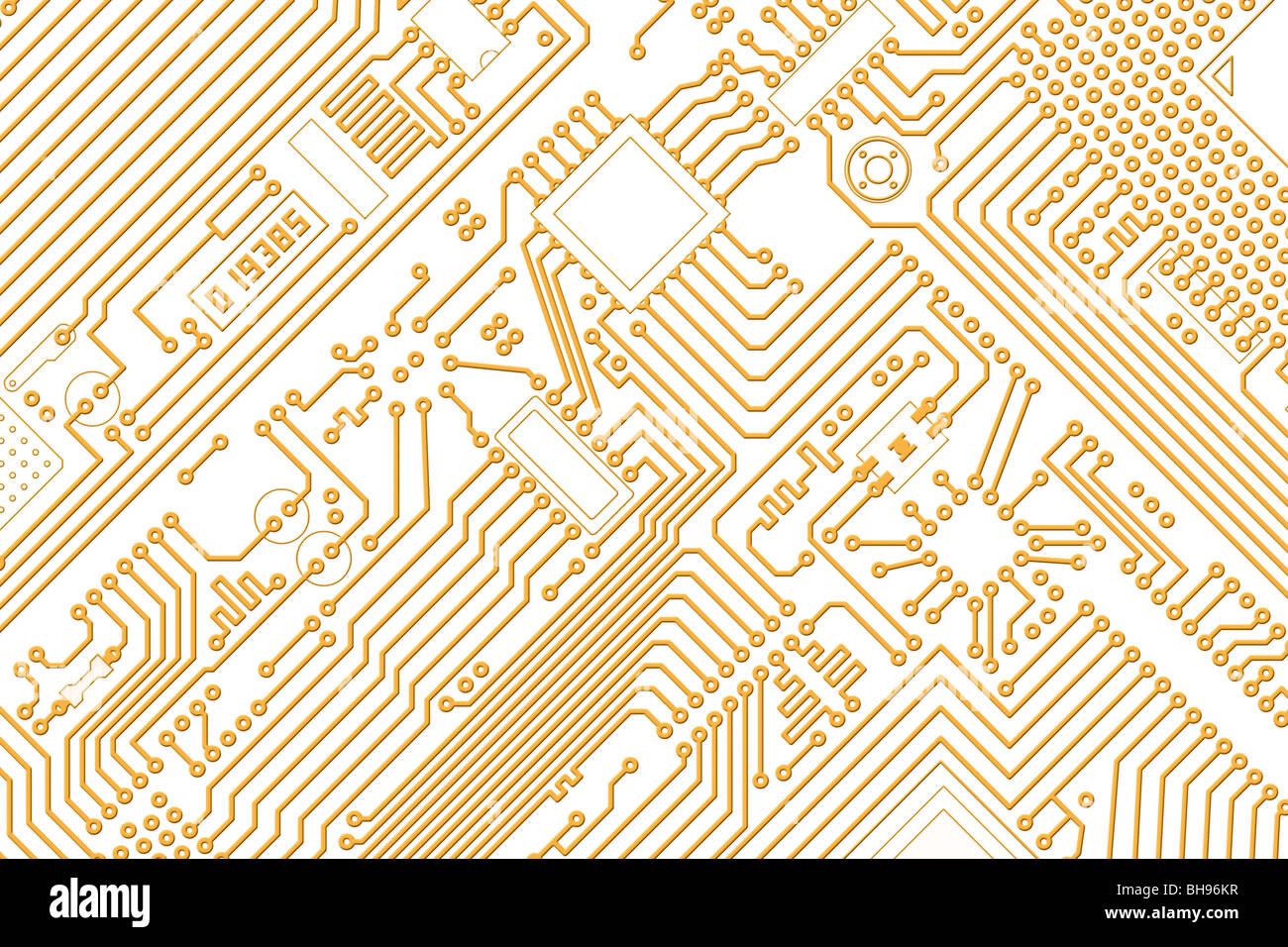 Industrial electronic high-tech graphics golden - white background - Stock Image