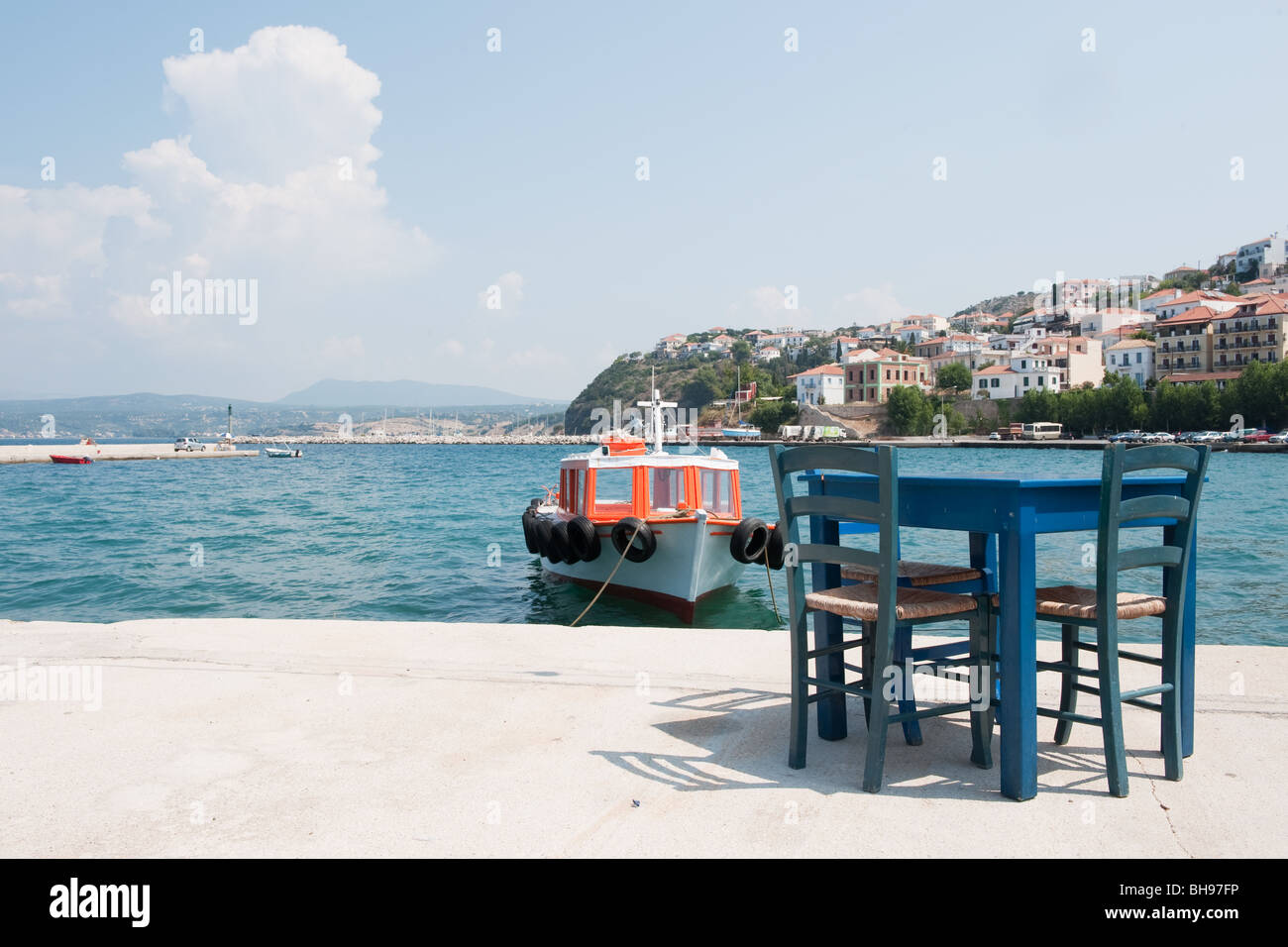 Little village Pylos at the coast from the Greece Peloponnese - Stock Image