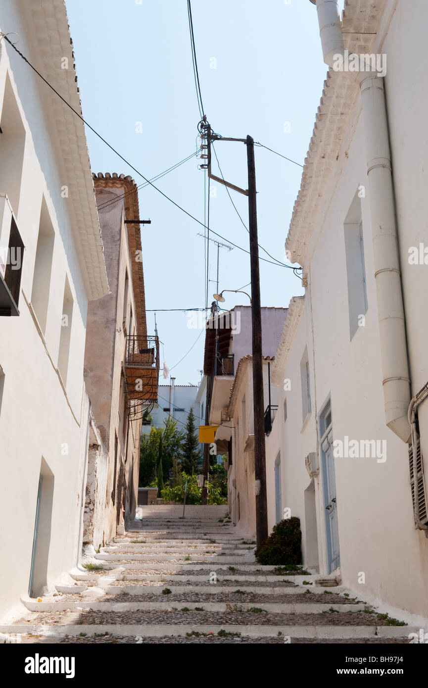 Greek alley in Pylos at the Peloponnese - Stock Image