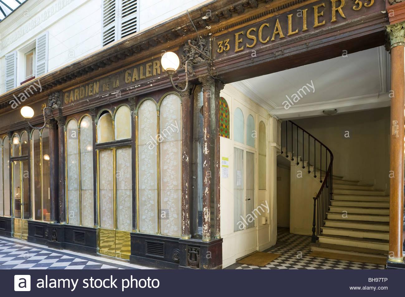 Paris, Passage, Galerie Vero Dodat - Stock Image