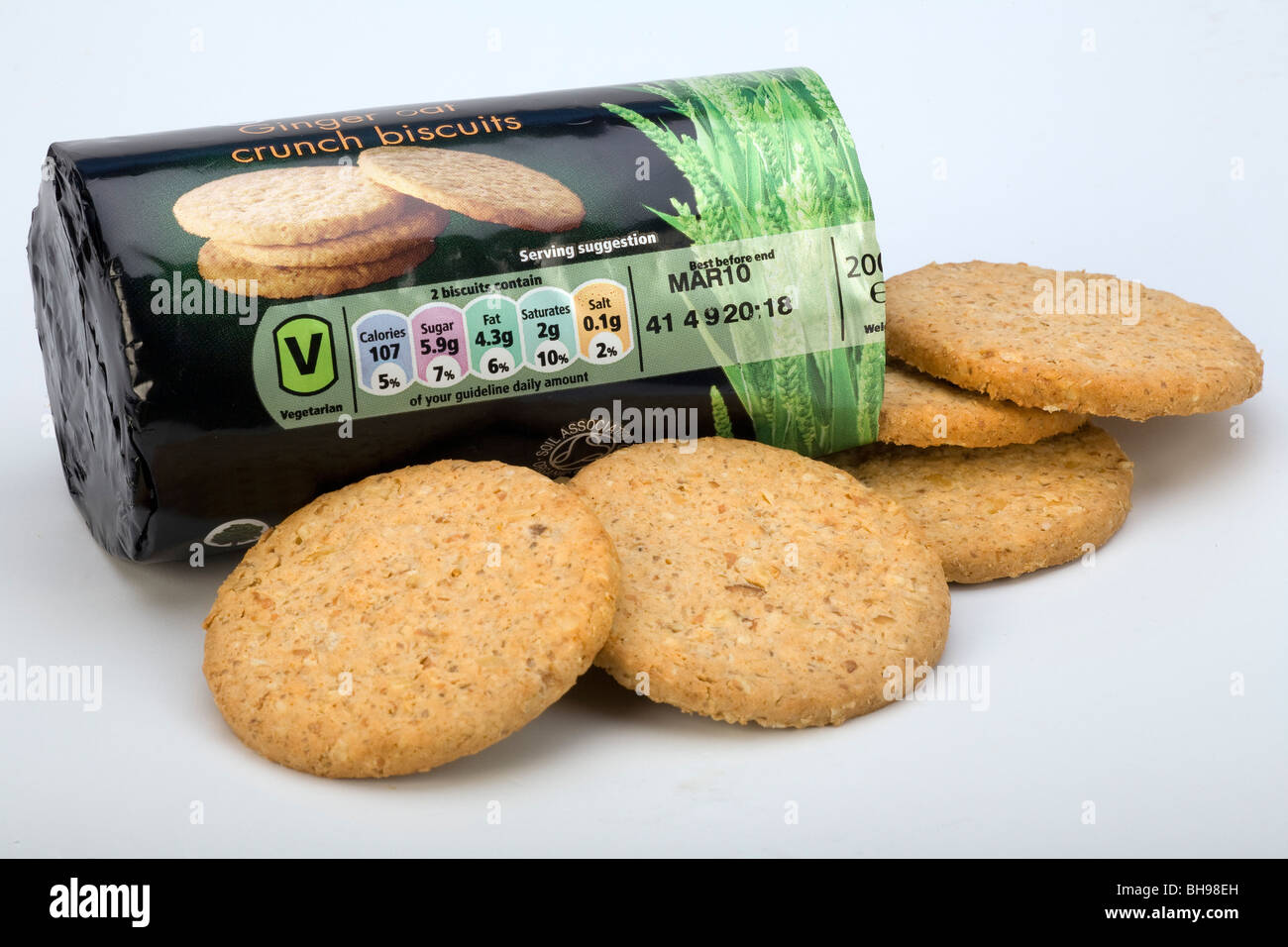 Packet of ginger biscuits showing food nutritional information - Stock Image