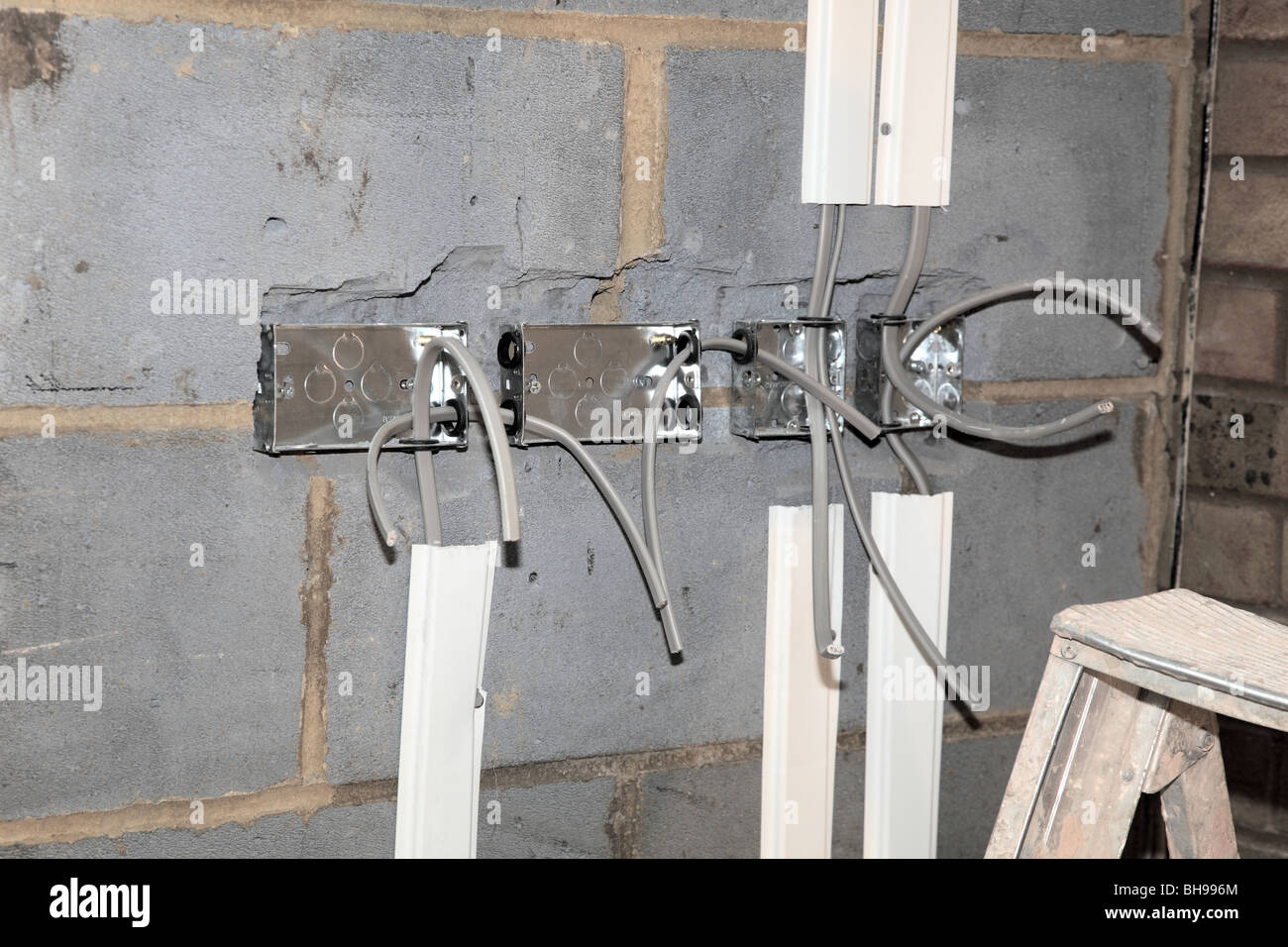 first fix wiring a new home extension stock photo 27864332 alamy rh alamy com Typical House Wiring Circuits wiring a new house extension