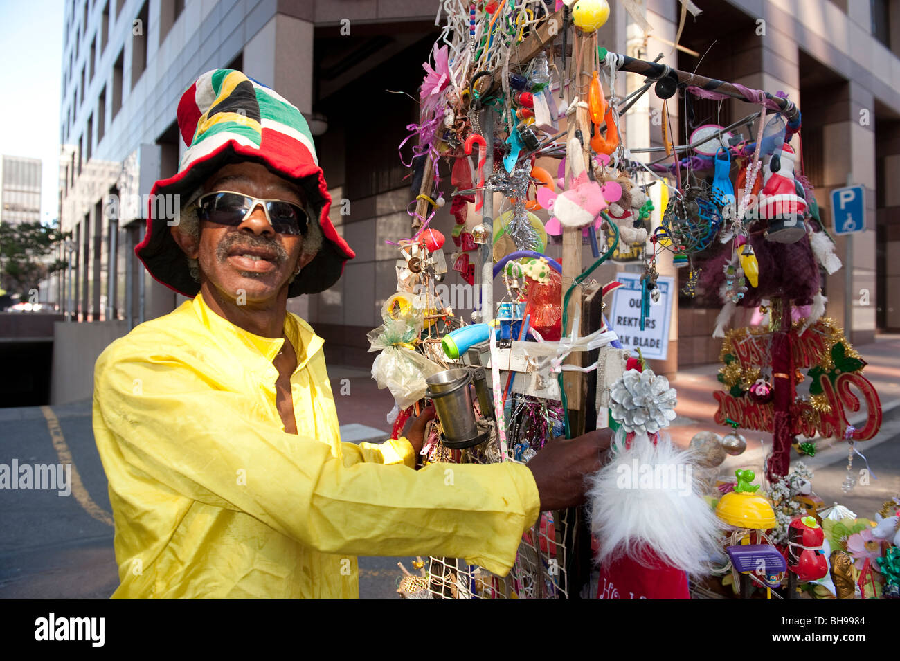 Street vendor FIFA World Cup 2010 Cape Town South Africa - Stock Image
