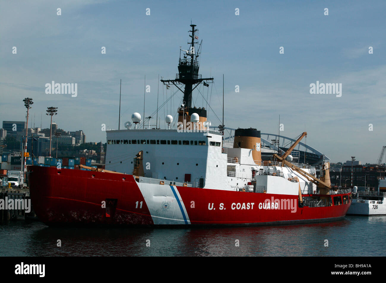 A US Coast Guard  icebreaker vessel moored up at the US Coast Guard Station Seattle - Stock Image