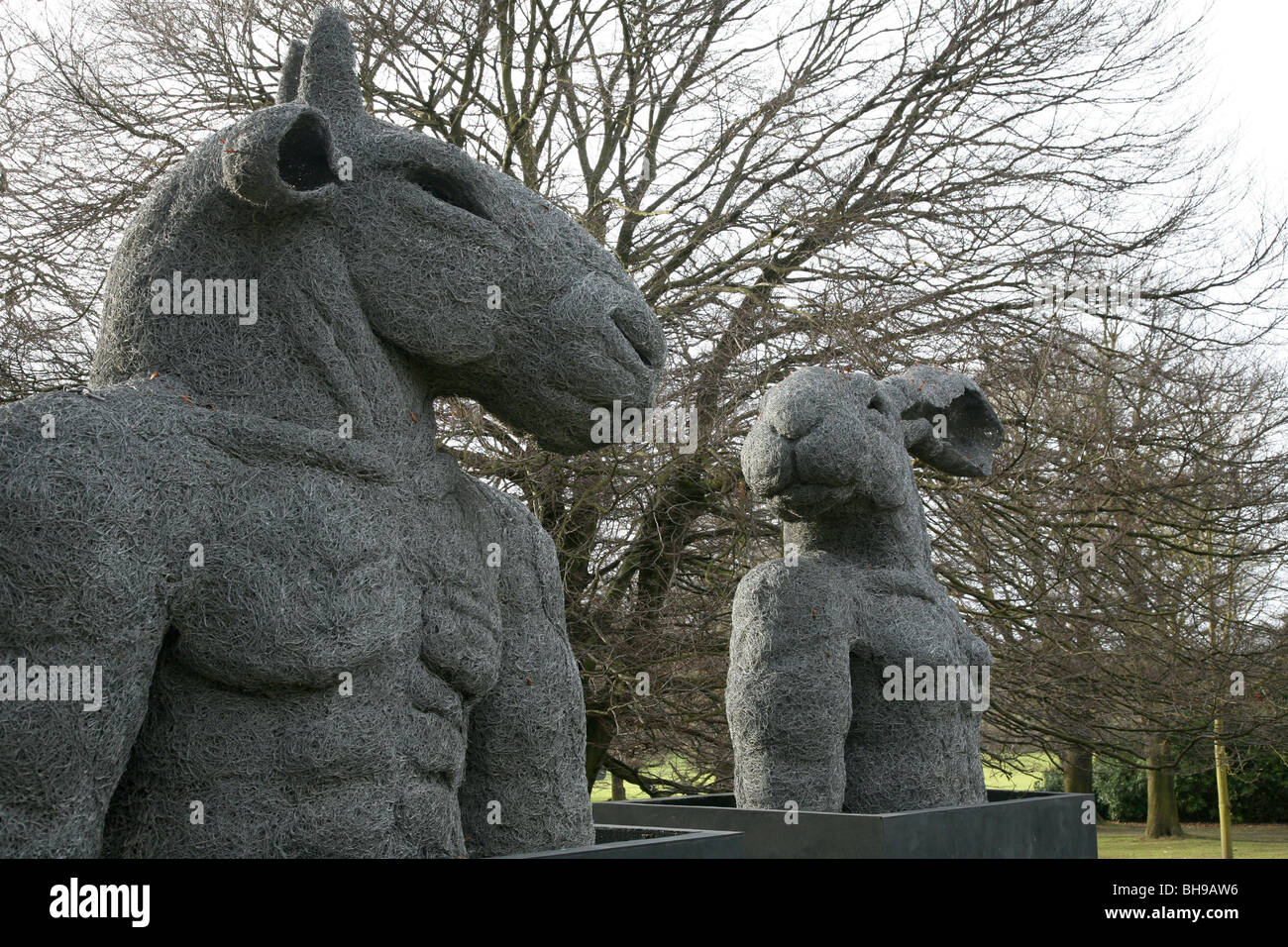 Minotaur and Lady hare wire sculptures by Sophie Ryder Stock Photo ...