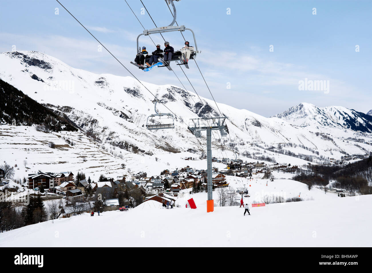 view from the slopes over the resort of st sorlin d'arves, les stock