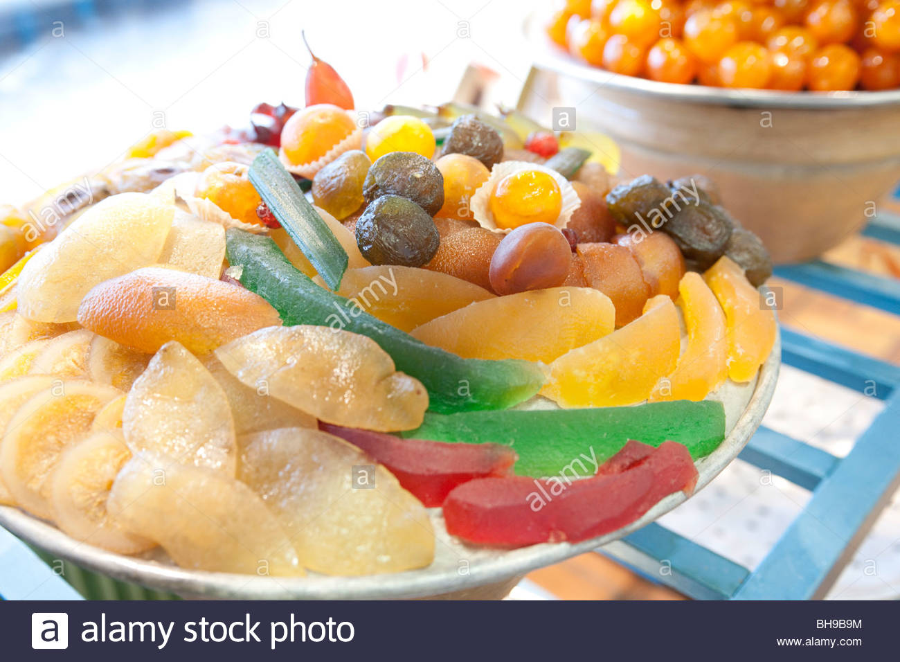 Large bowl, mixed glaced fruit, confectionery Confiserie Florian, Nice, France - Stock Image