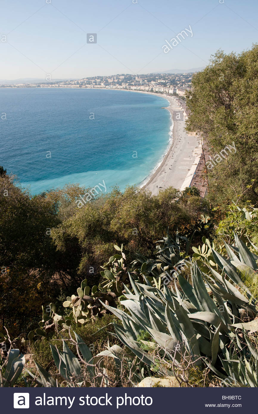 nice france baie des anges mediterranean sea beach - Stock Image