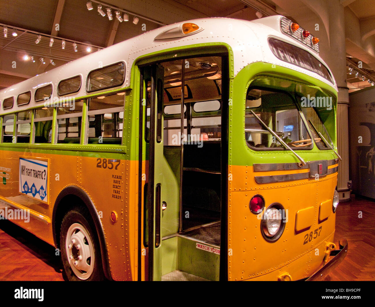 The Montgomery, Alabama bus in which civil rights pioneer Rosa Parks refused to yield her seat to a white passenger - Stock Image