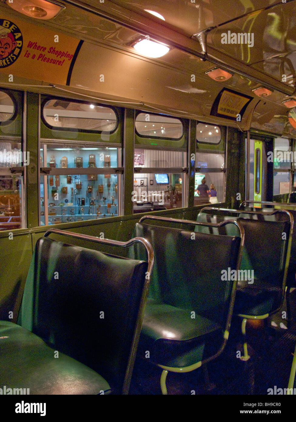 The seat of a Montgomery, Alabama bus which civil rights pioneer Rosa Parks refused to yield to a white passenger Stock Photo
