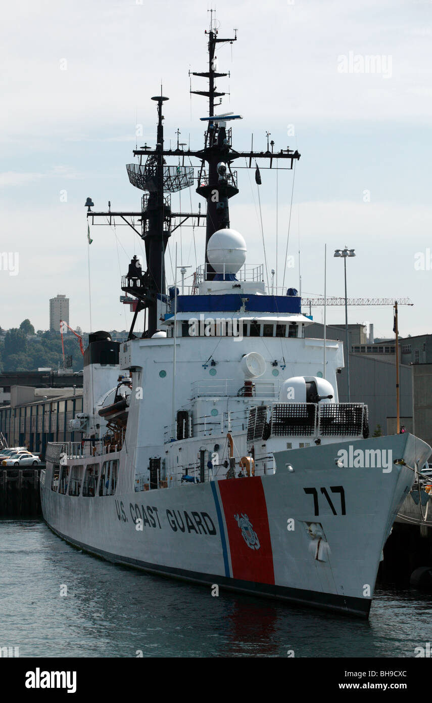 A US Coast Guard  vessel moored up at the US Coast Guard Station Seattle - Stock Image