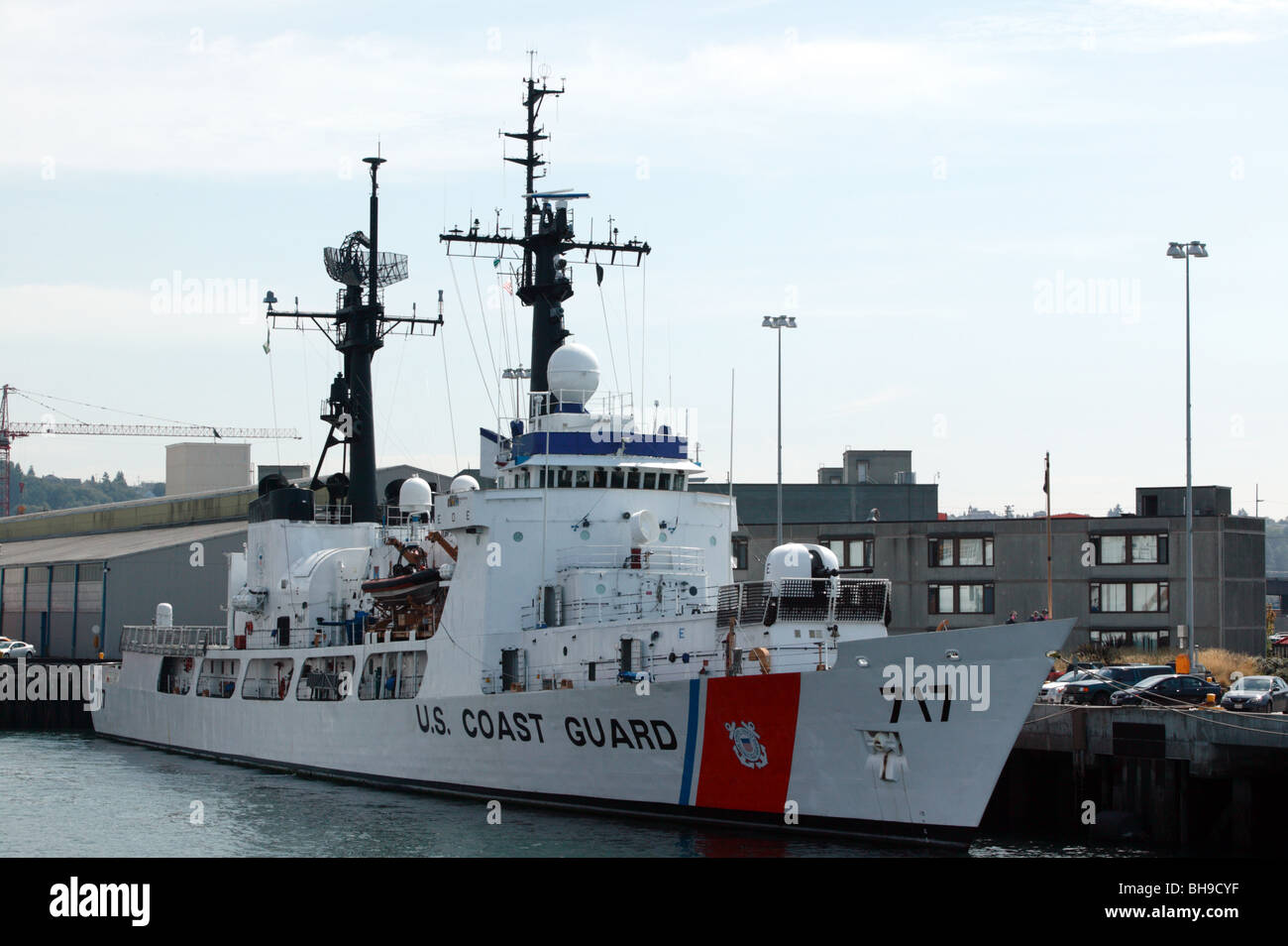 A US Coast Guard  vessel  Mellon, a high endurance cutter, moored up at the US Coast Guard Station Seattle - Stock Image