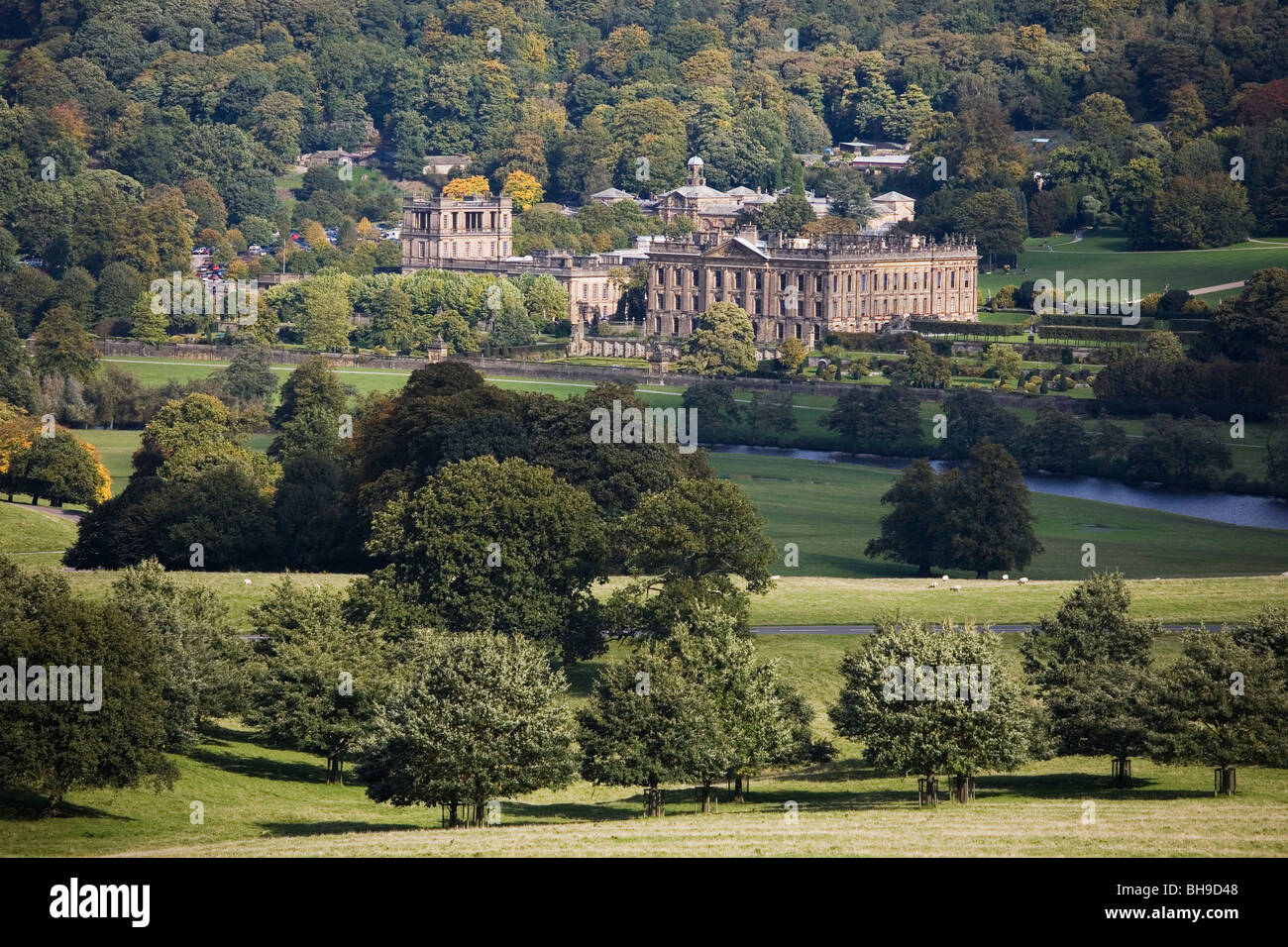 Chatsworth Park and House, Derbyshire, England - Stock Image