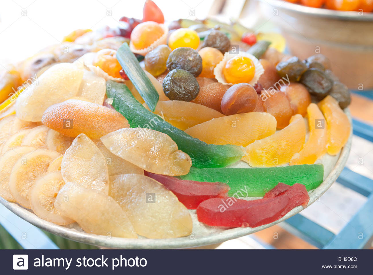 Large bowl, mixed glaced fruit, confectionery, Confiserie Florian, Nice, France - Stock Image