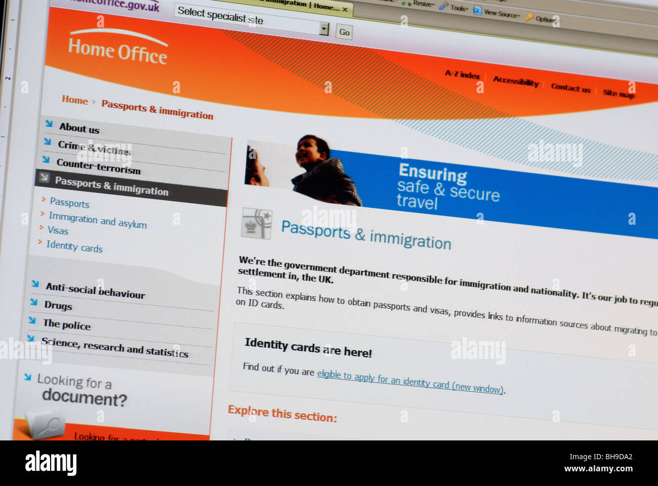 Macro screen shot of Home Office web site passport and immigration ...