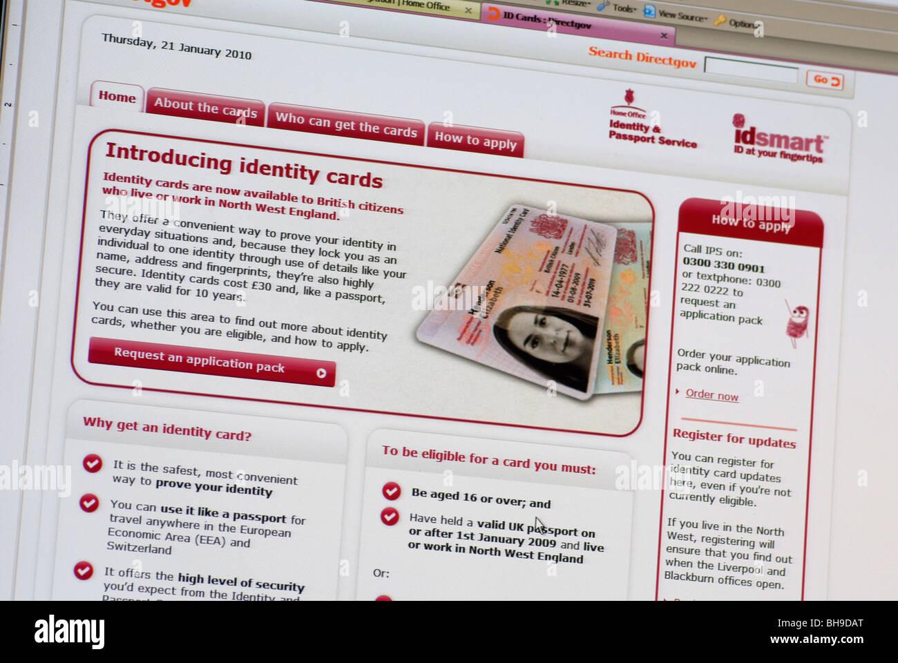 Macro screen shot of Home Office Directgov web site - Stock Image