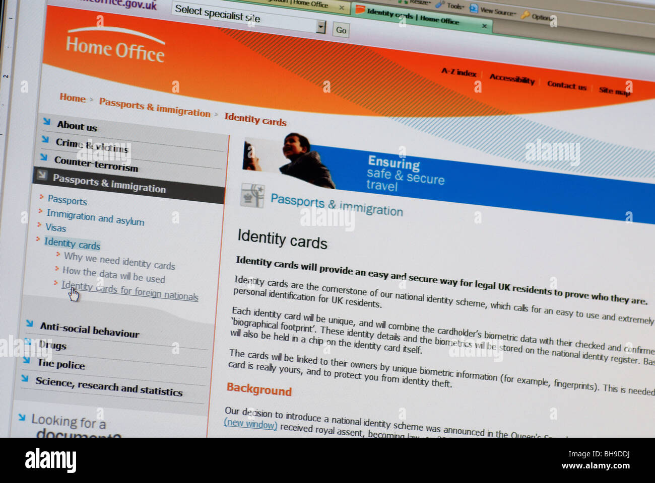 Macro screen shot of Home Office web site identity cards page - Stock Image