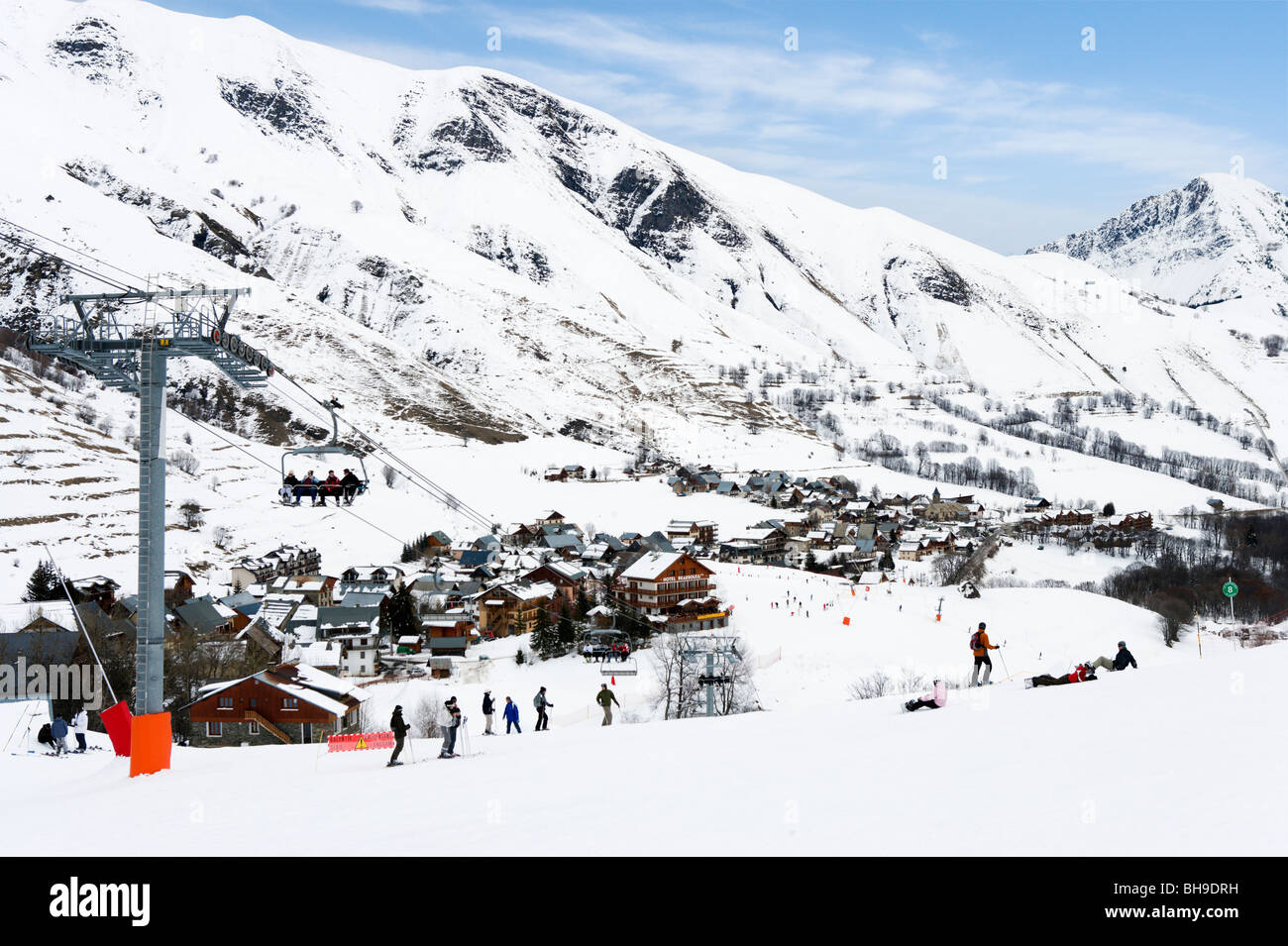 View from the slopes over the resort of St Sorlin d'Arves, Les Sybelles ski area, Maurienne massif, France - Stock Image