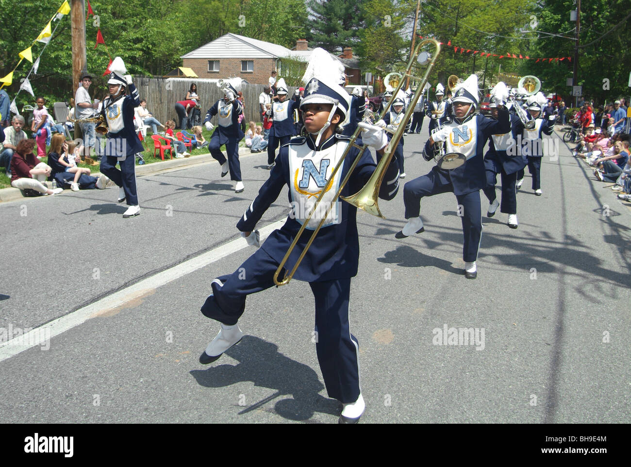members of a high school's marching band in the Berwyn Heights, Md parade - Stock Image