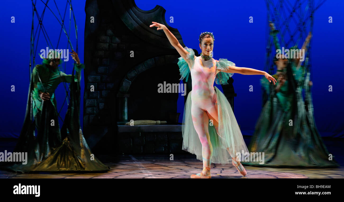 Fairy Queen calling out green fairies from trees in Ballet Jorgen production of Cinderella Toronto - Stock Image