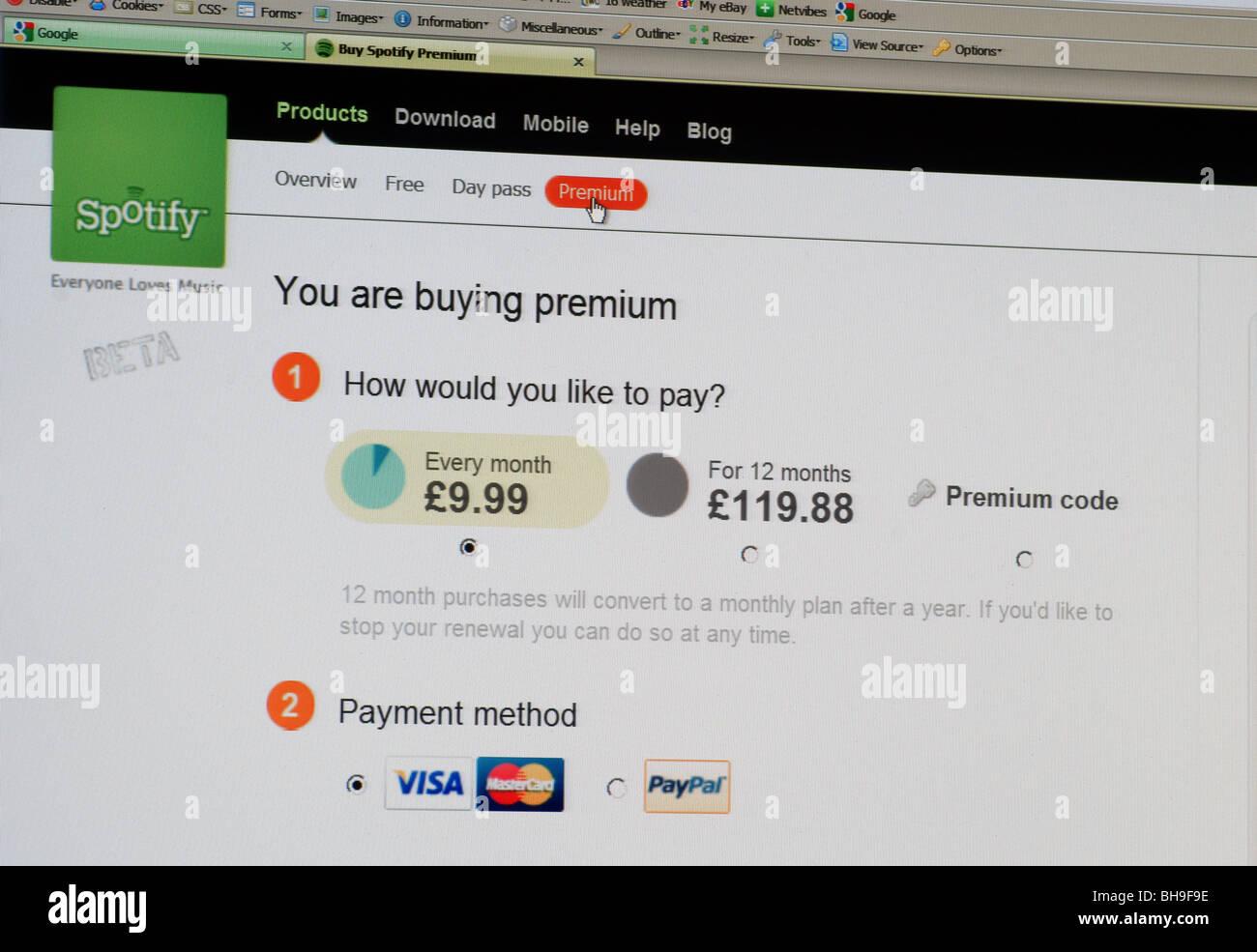 Macro Screen shot of spotify free music download site making premium