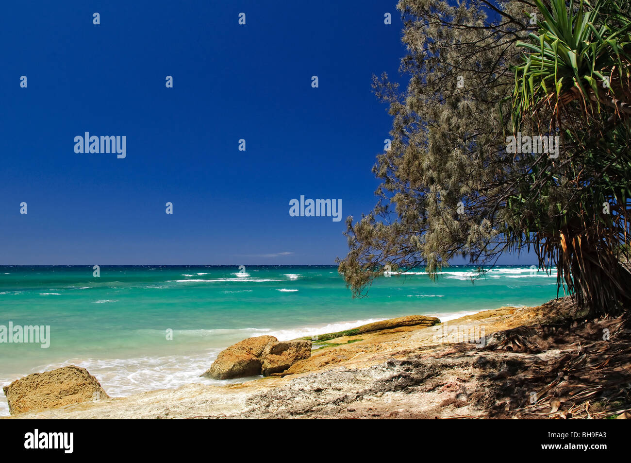 Cylinder Beach on North Stradbroke Island, Queensland, Australia North Stradbroke Island, just off Queensland's - Stock Image