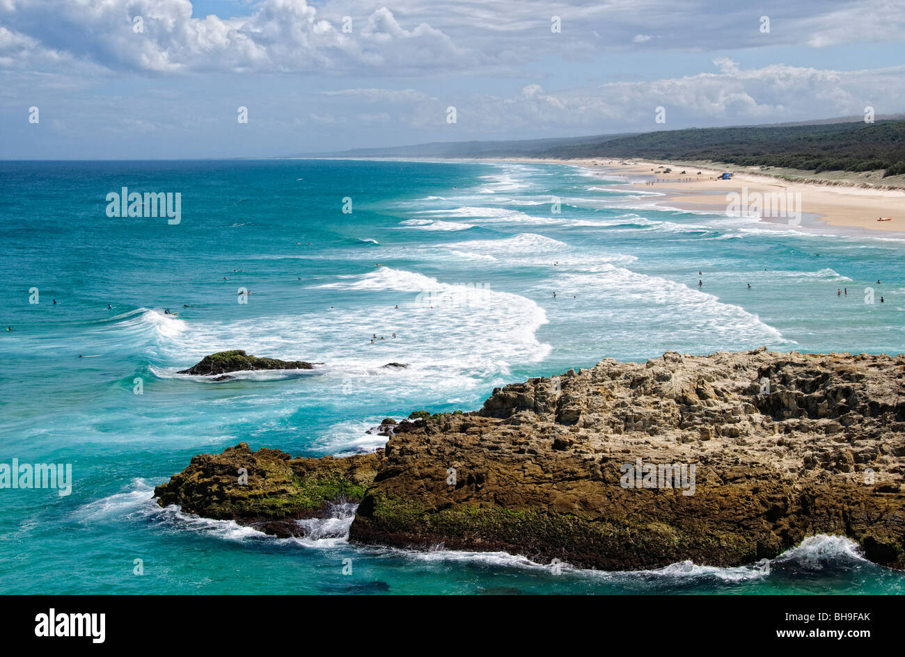 Looking south along the beach at Point Lookout on Stradbroke Island, Queensland's most easterly point. North - Stock Image