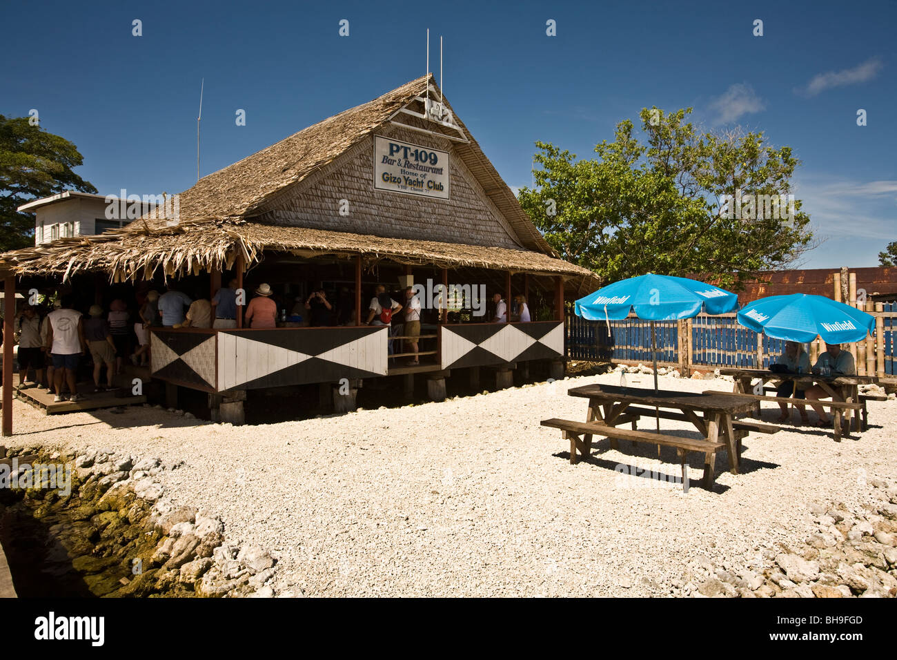 The PT-109 Bar & Restaurant is a Gizo landmark and one of the legendary watering holes of the South Pacific - Stock Image