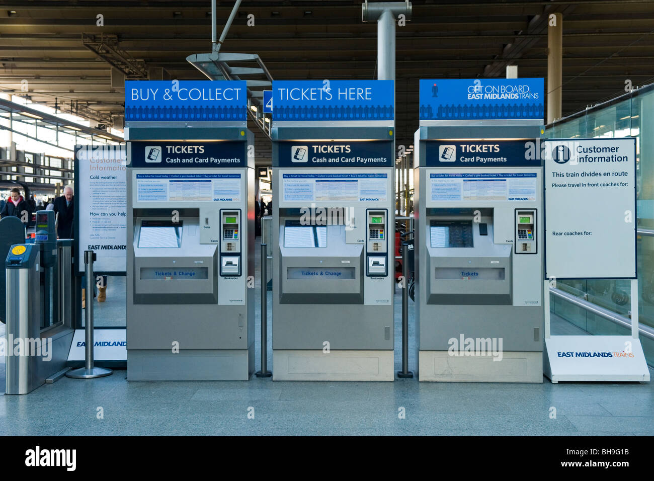 St Pancras Station , East Midlands Trains buy & collect ticket machines - Stock Image